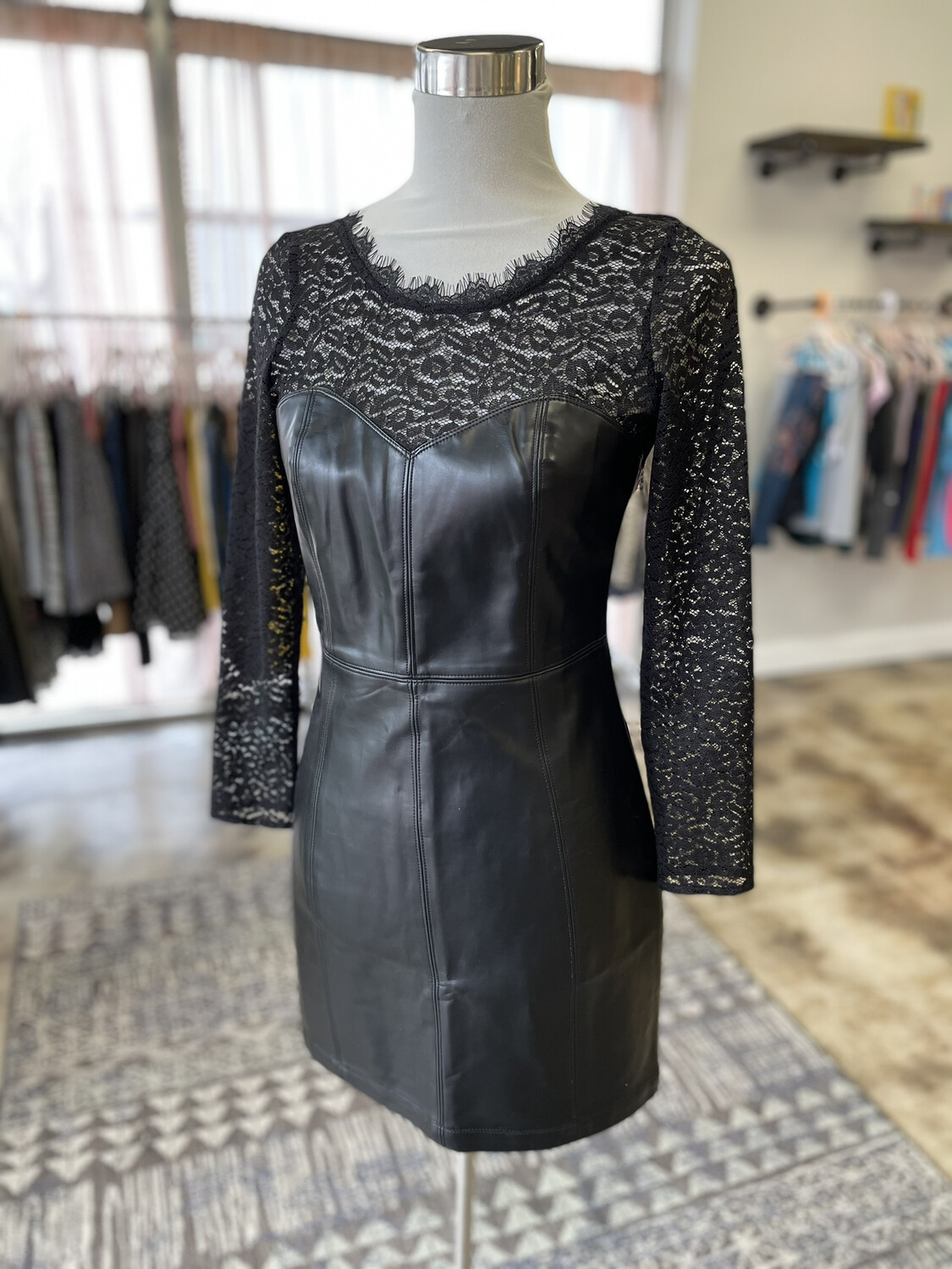 Free People Black Leather & Lace Dress - S