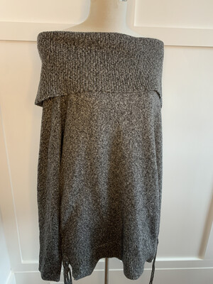 Easel Grey & White Knit Off Shoulder w/ Side Ties - M