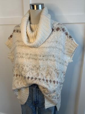 Free People Cream Patterned Short Sleeve Turtleneck Sweater - XS
