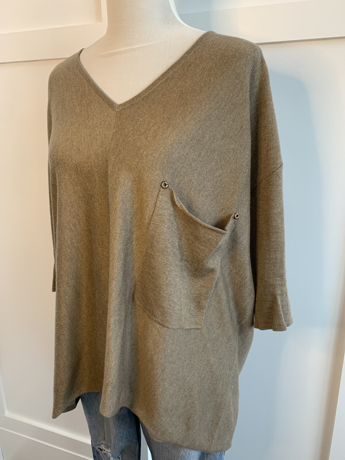 Kerisma Brown Oversized Pocket Vneck Top - M/L