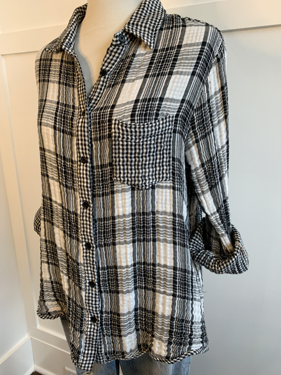Kori America Black & White Plaid Button Up Top - L