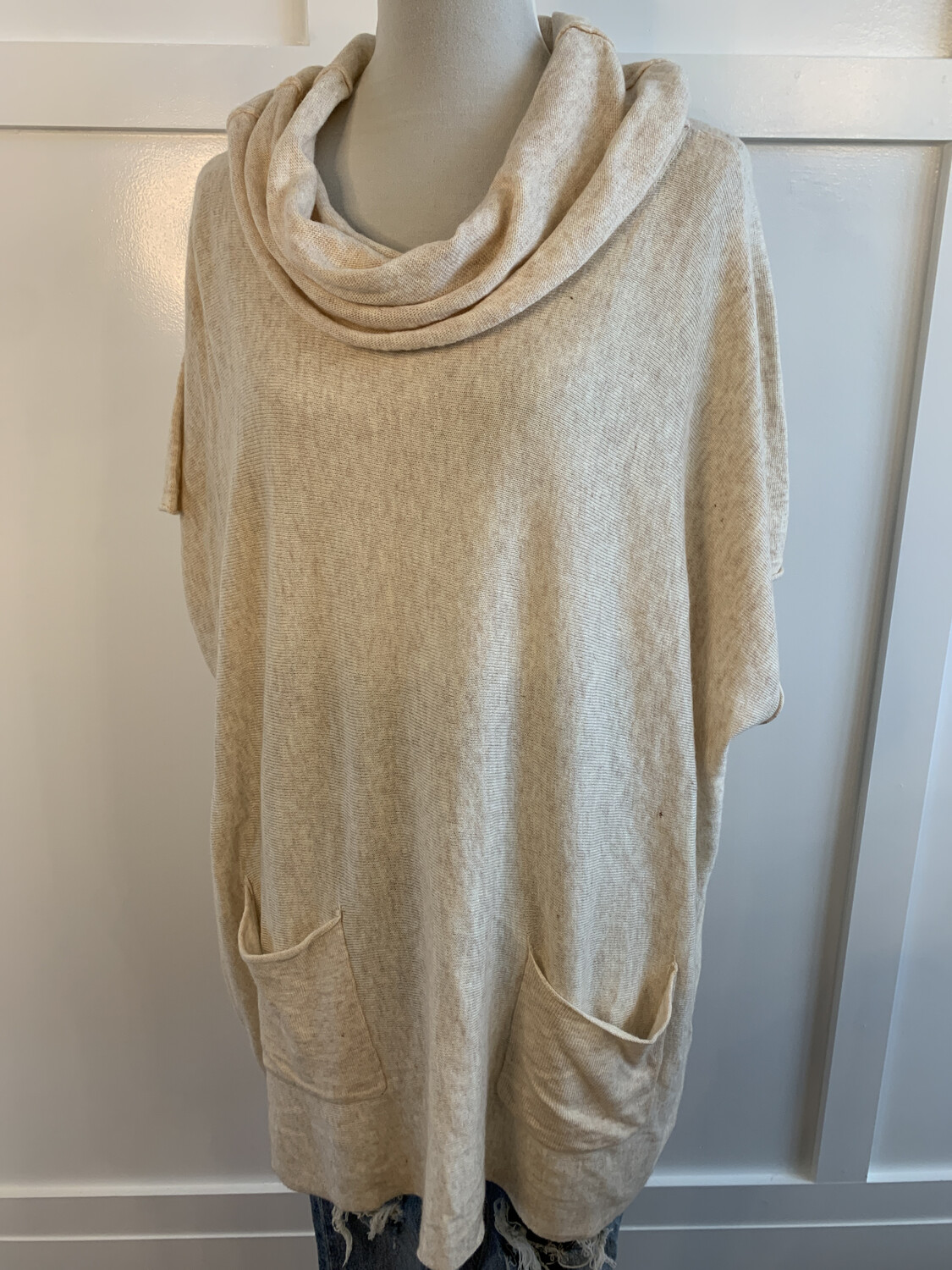 A'reve Cream Turtleneck Pocket Oversized Top - S/M