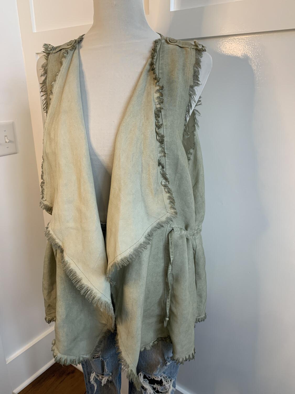Umgee Faded Green Fringe Trim Sleeveless Vest - S