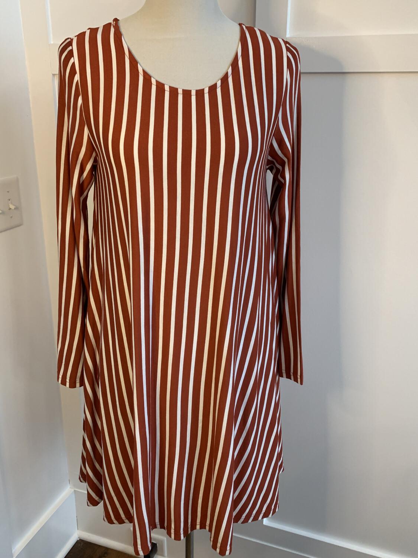 Jodifl Rust & White Striped Long Sleeve Dress - S