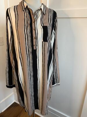Kori America Black Tan & Cream Striped Button Up Dress - L