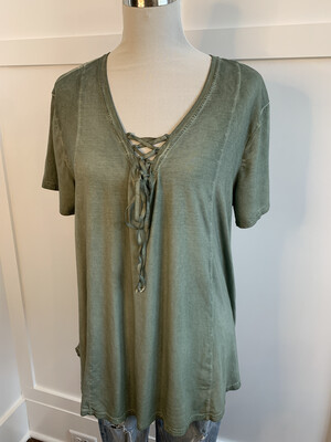 Umgee Vintage Green Tie Up Oversized Top - M
