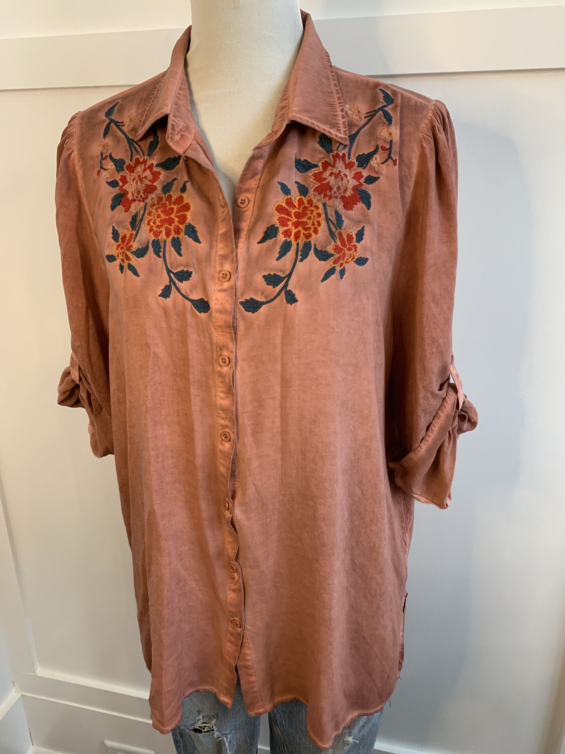 Andree Distressed Pink Floral Embroidered Top - L