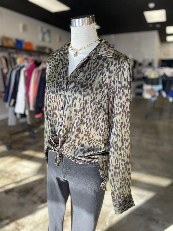 Hem & Thread Green Leopard Top - M