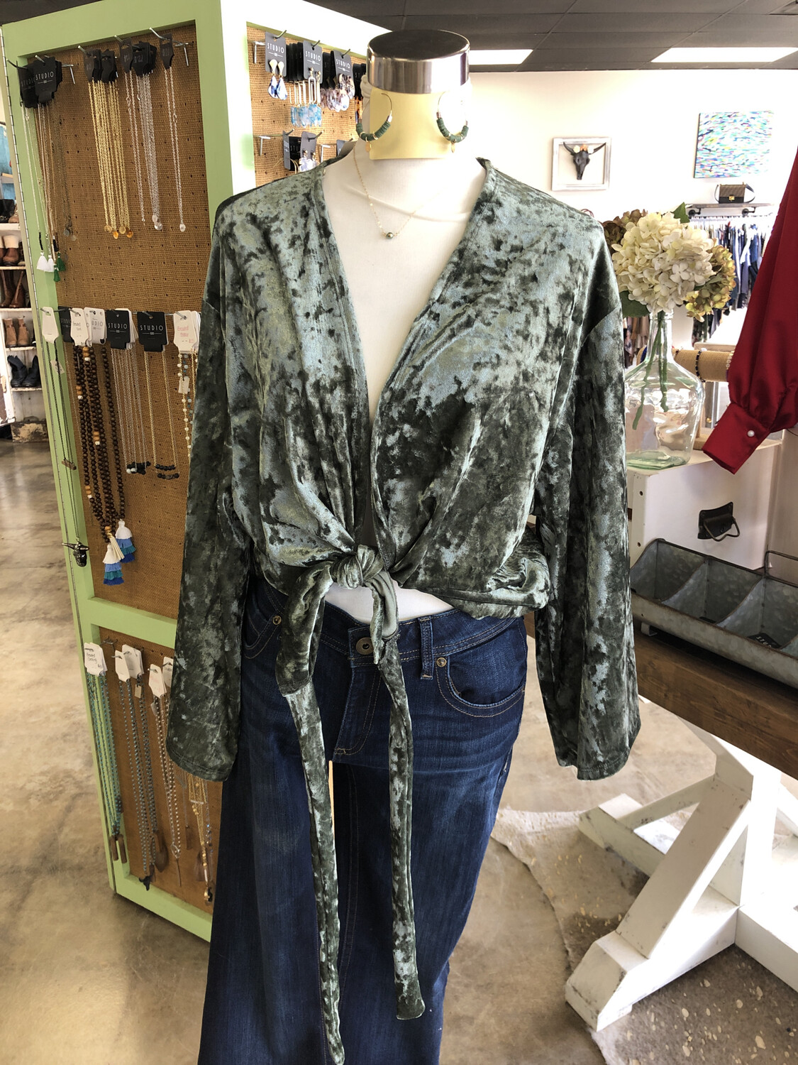Molly Green Green Crushed Velvet Tie Front Top - L