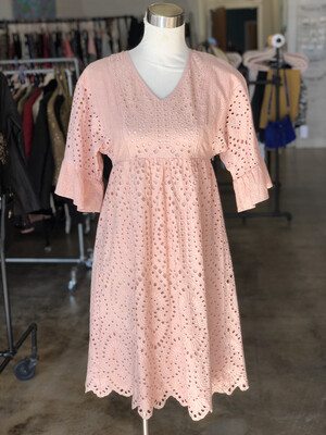 Roolee Pink Eyelet Dress - XS