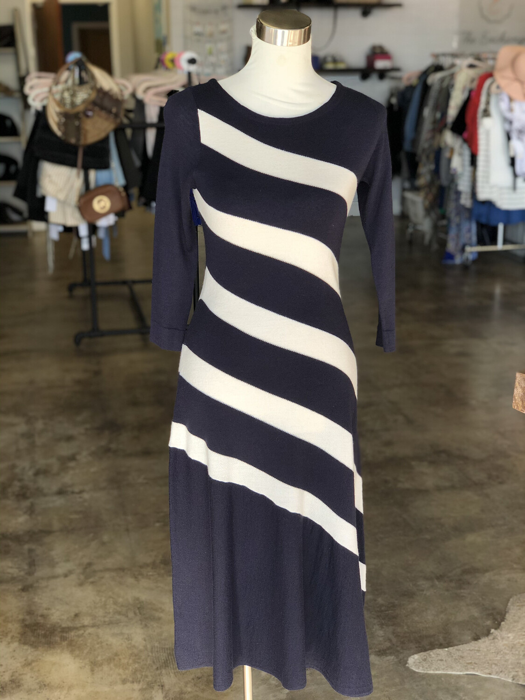 Ann Taylor Black & White Striped Long Sweater Dress - XS
