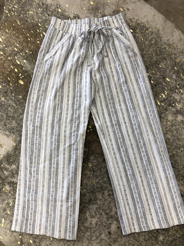 Sienna Sky White & Black Drawstring Pants - L