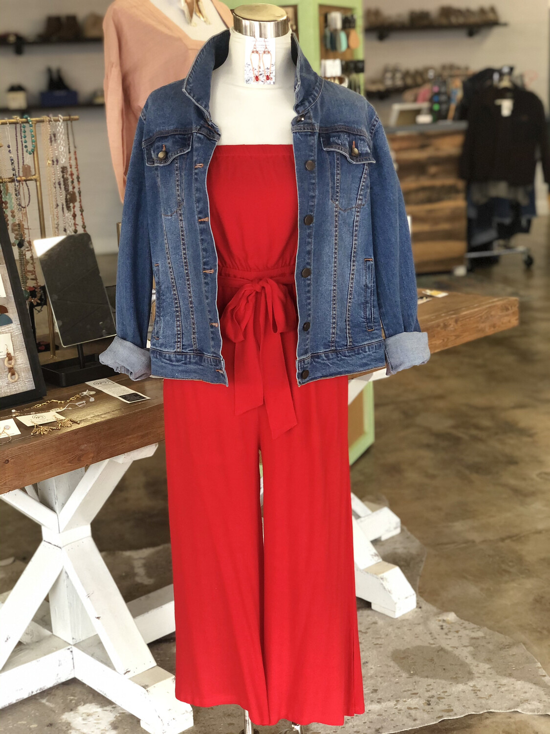 Lulus Red Strapless Belted Jumpsuit - S