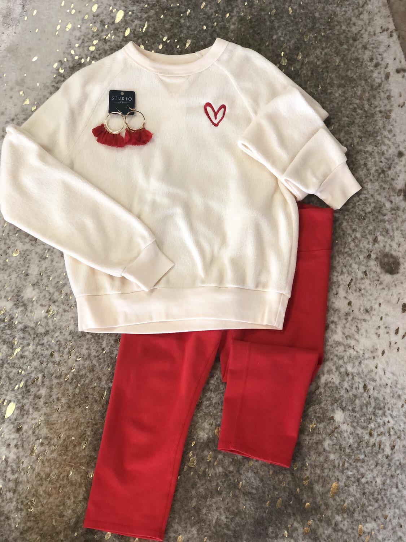 Cream Fuzzy Heart Sweater - L