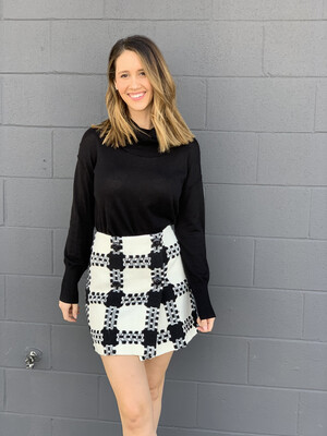 Focus 2000 White & Black Plaid Button Skirt - Size 6