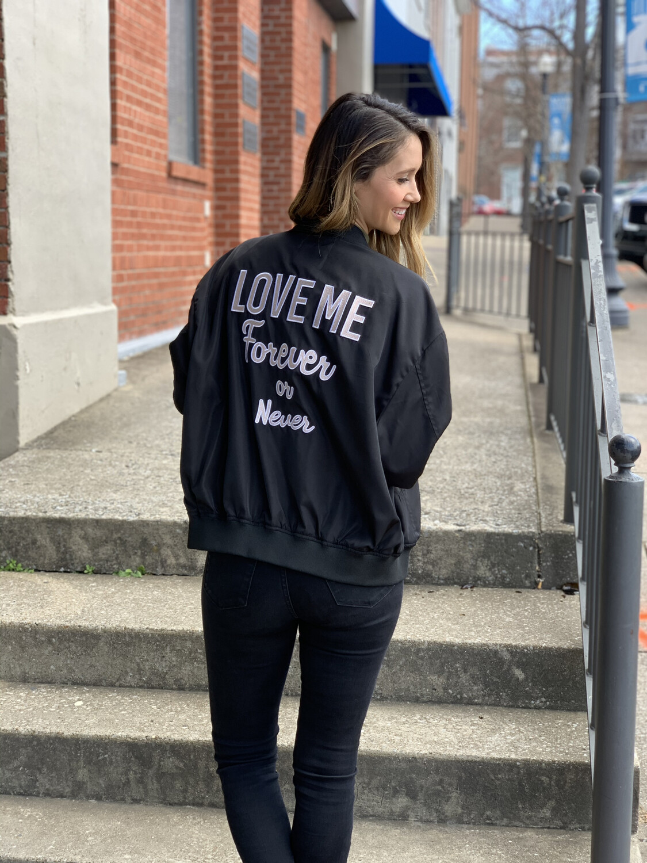 Guess Black Love Me Forever Bomber Jacket - L