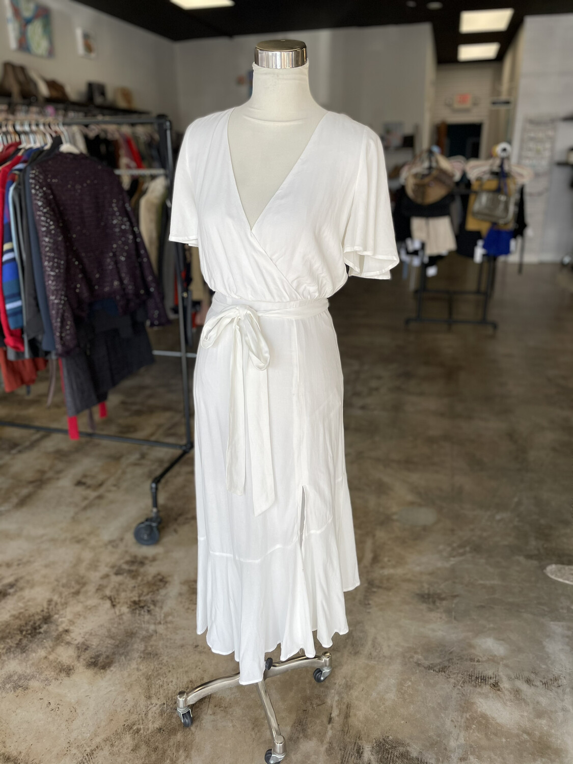 Fortunate One White Belted Dress - S