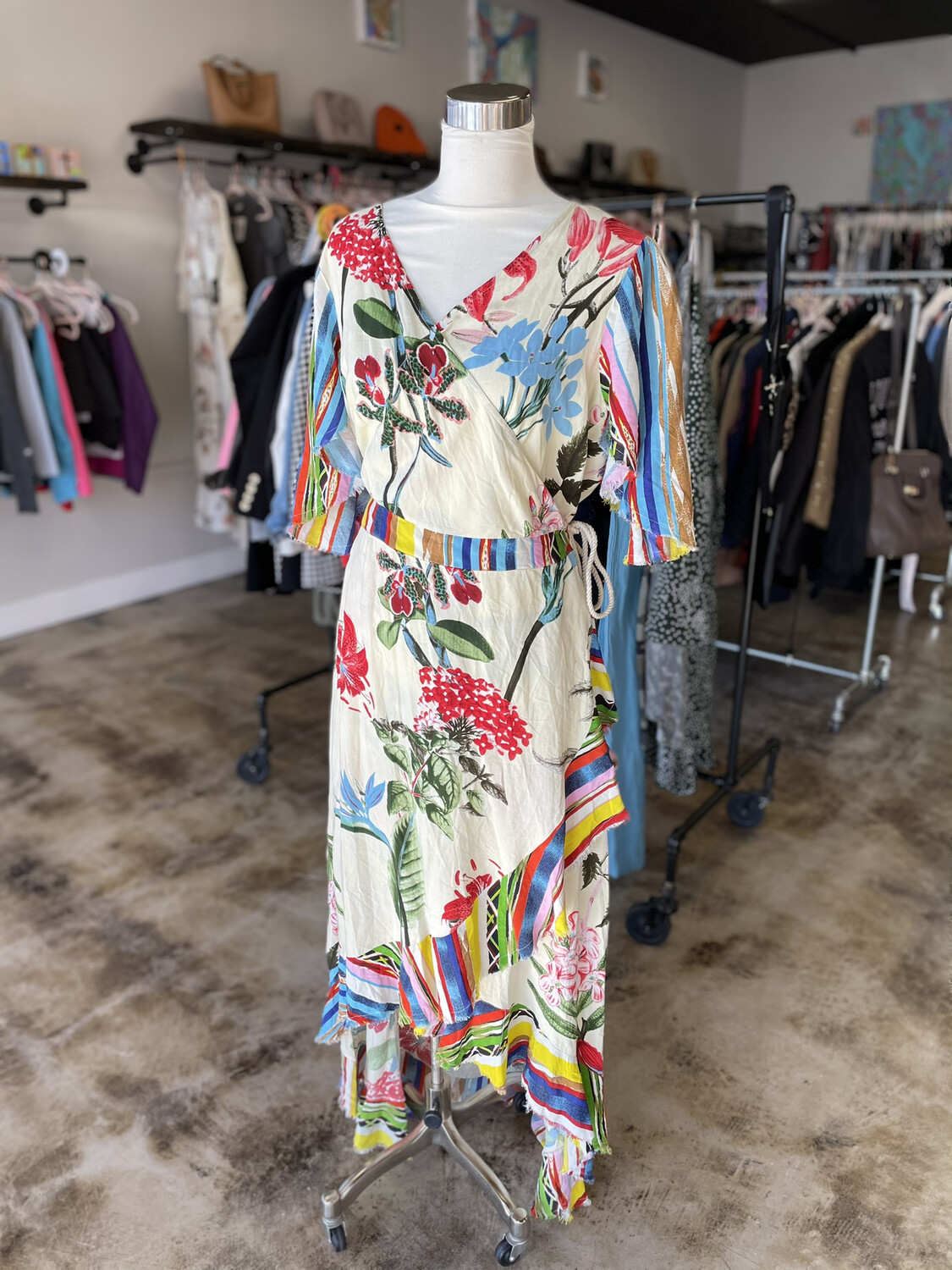 A'Beautiful Soul Ivory Colorful Floral Wrap Dress - Size 14/16
