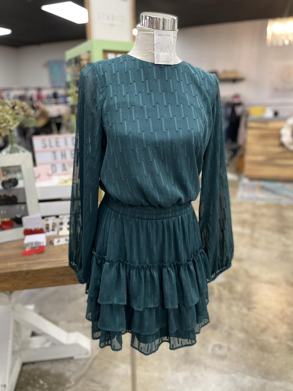 Express Green Ruffle Layer Long Sleeve Dress - M
