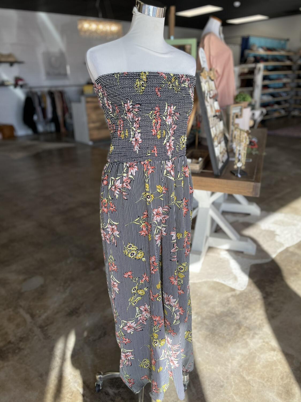 Mlle Gabrielle Black Striped Floral Strapless Jumper - 1X