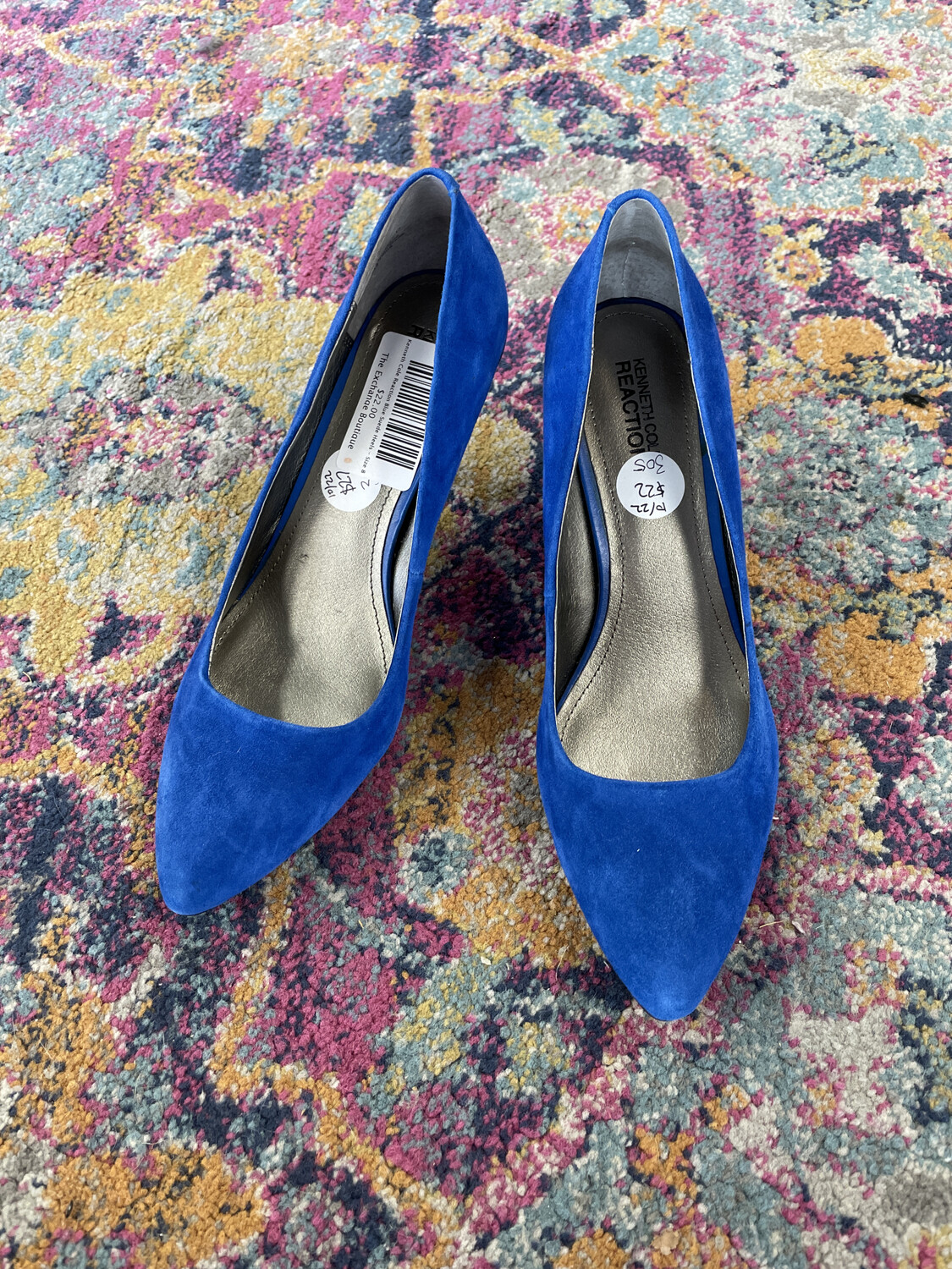 Kenneth Cole Reaction Blue Suede Heels - Size 8