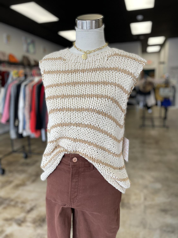 Free People Cream & Tan Knit Tank Sweater Top - XS