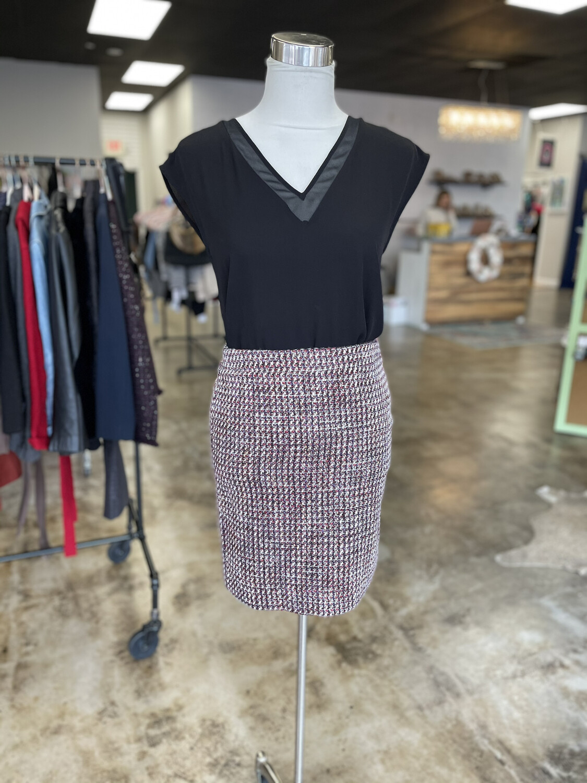 LOFT Purple & Pink Tweed Skirt - Size 00