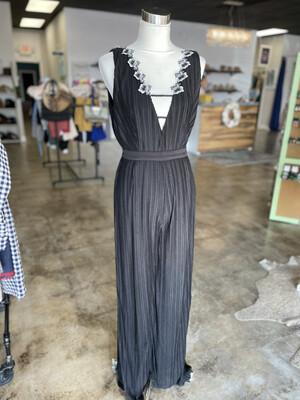 Foxiedox Black Floral Trim Jumpsuit - L