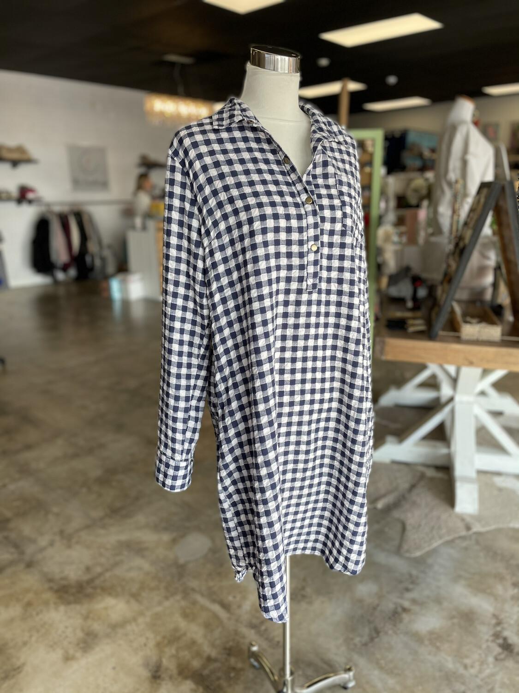 Easel Blue & White Plaid Long Sleeve Dress - L