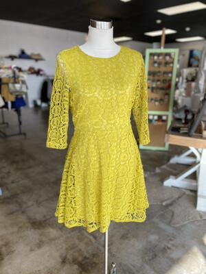 Esley Yellow Crochet Layered Dress - L