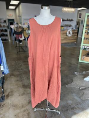 Zanzea Salmon Side Pocket Dress - L