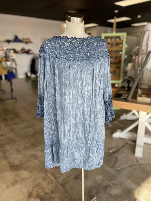 Hyku Vintage Blue Tunic Top w/ Crochet Detail - L