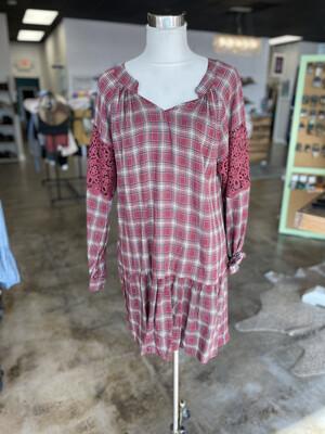 Kori Brick Red Plaid Decorative Sleeve Dress - L