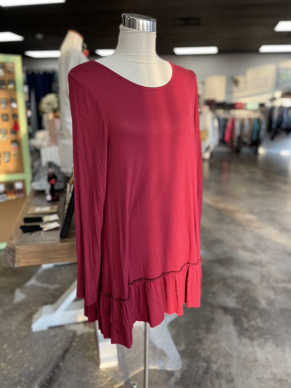 Easel Burgundy Ruffle Bottom Tunic/Dress -L