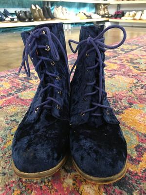 Catherine Malandrino Blue Crushed Velvet Boots - Size 9