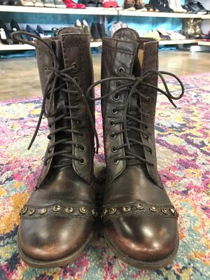 Gianni Bini Brown Studded/Rhinestone Combat Boots - Size 7