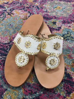 Jack Rogers White & Gold Metallic Trim Canvas Sandals - Size 7