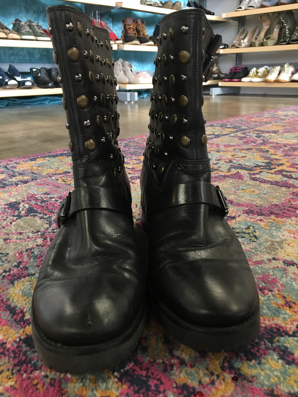 Michael Kors Black Leather Studded Boots - Size 10
