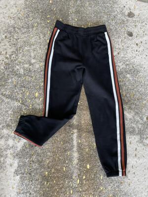 Bobi Black Joggers w/Orange & White Stripes - S
