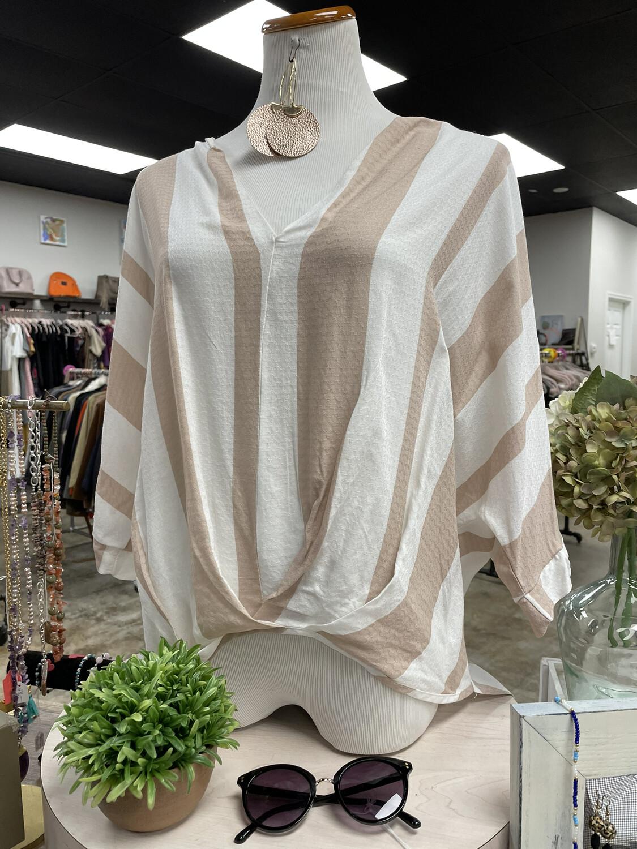 Fab'rik White & Tan Striped High Low Top - L