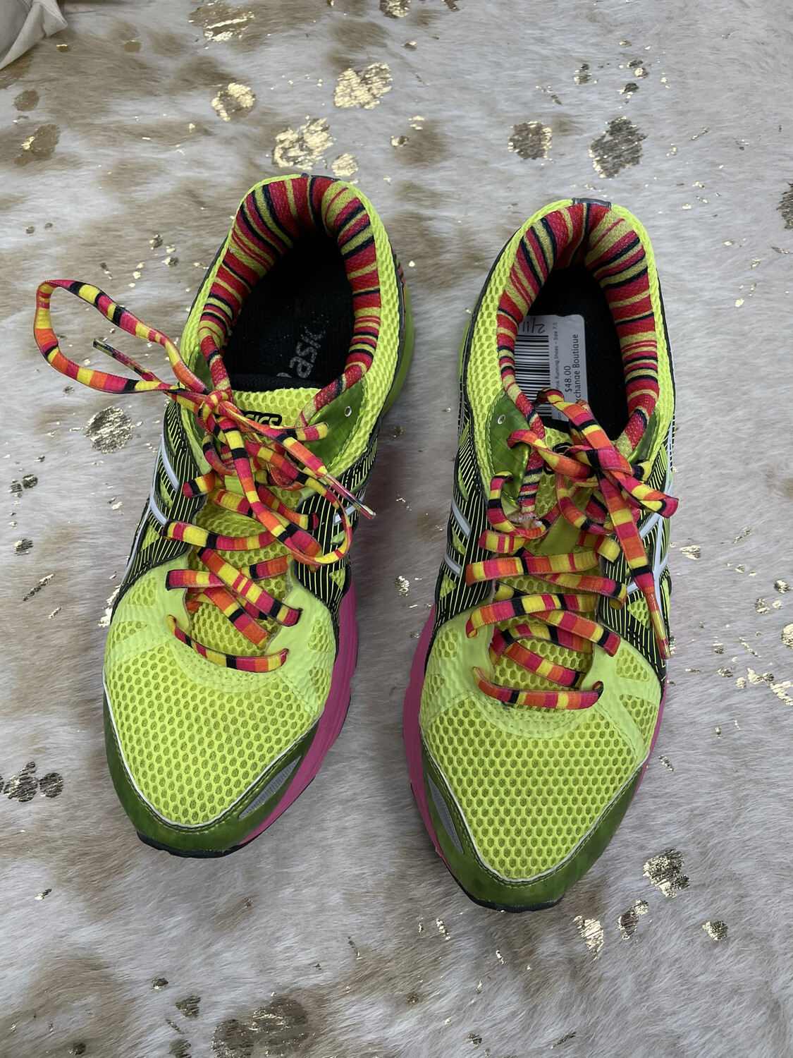 Asics Neon Yellow & Pink Running Shoes - Size 7.5