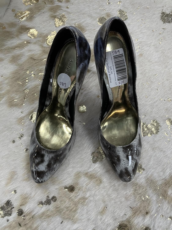 Antonio Melani Glossy White & Brown Patterned Pumps - Size 8