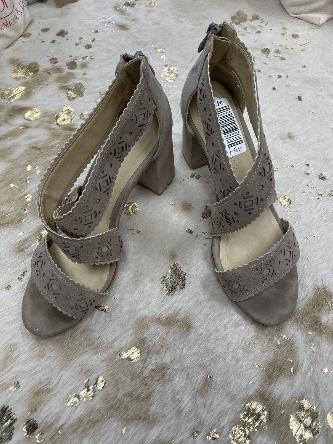 Chinese Laundry Tan Strappy Suede Sandal Block Heels - Size 7.5