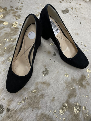Isola Black Suede Block Heel Pumps - Size 8