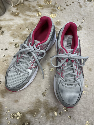 Asics Grey & Pink Running Shoes - Size 9