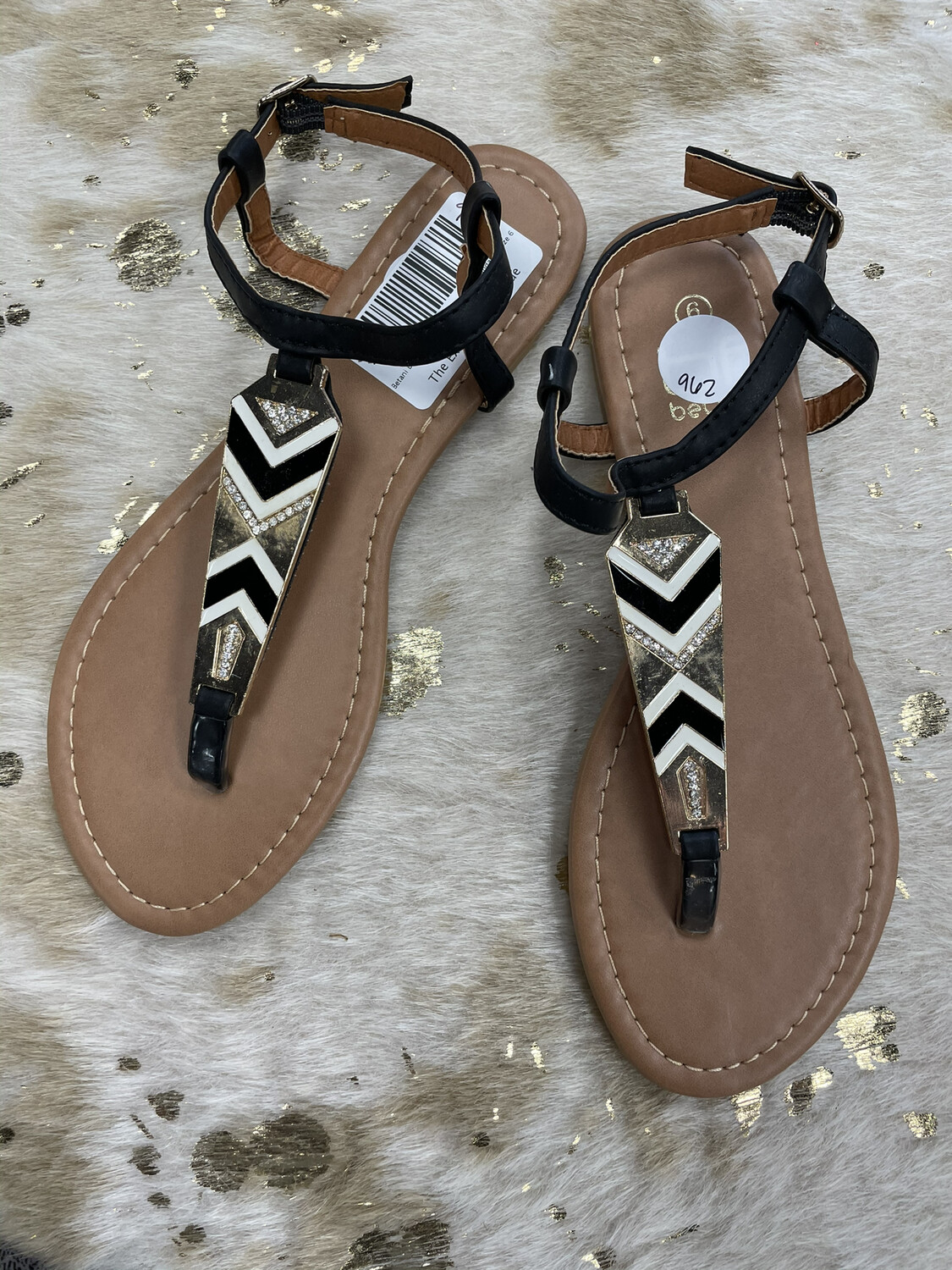 Betani Black White & Gold Embellished Sandals - Size 6