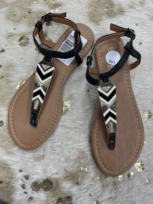 Betani Black White & Gold Embellished Sandals - Size 6