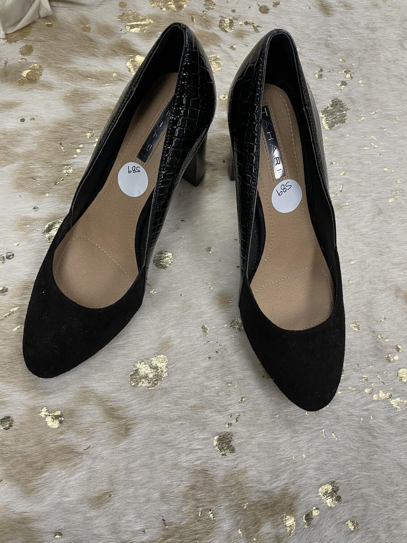 Tahari Black Suede Toe Heels - Size 7.5