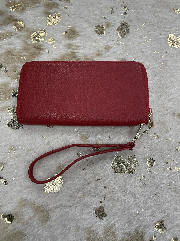 Red Pebbled Wristlet