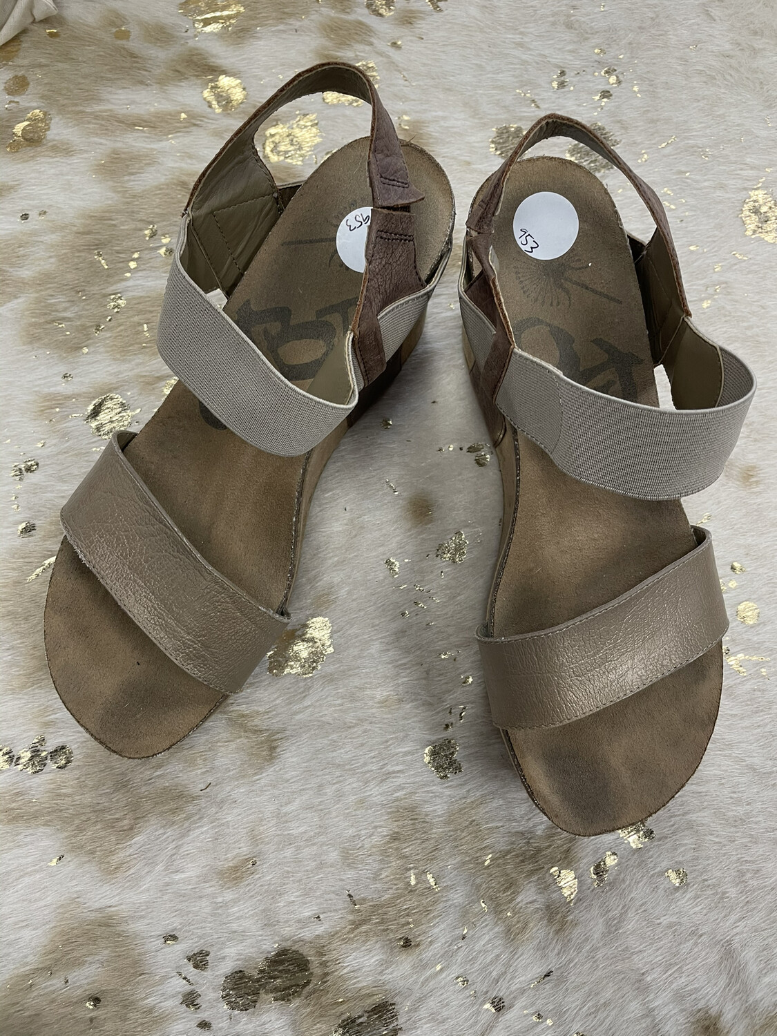 OTBT Tan Two Tone Wedge Sandals - Size 8.5